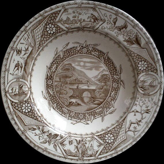 """Antique Soup Bowl, G W TURNER and Sons Phileau, Brown Transferware Aesthetic Movement, 9 1/4"""", 1800's, Tunstall, English Transferware"""
