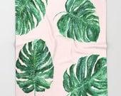 Pink Leaf Throw Blanket, monstera leaf blanket, tropical blanket, palm leaf blanket, pink leaf blanket, blush pink blanket, tropical leaf