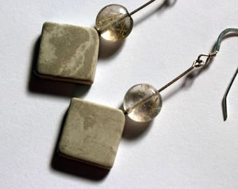 Marble and citrine stone earrings