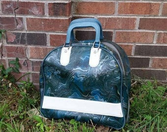 Vintage Bowling Ball Bag, 12 lb bowling ball, blue green tie dye style bag and ball, vintage luggage, Brunswick Crown Jewel Bowling ball