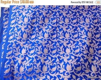Flat 40% Off Royal Blue Poly Brocade Fabric by Yard