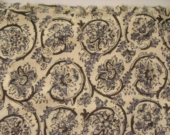 Kalamkari Print  Rayon fabric in Olive, Gray and Beige Color  Sold by Yard