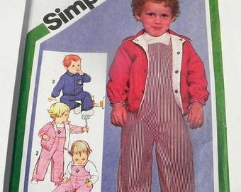 """SALE Kids Childs Girls Boys Jacket Overalls bib front raglan sleeves sewing pattern Simplicity 9820 Toddler Size 2 Chest 21"""""""