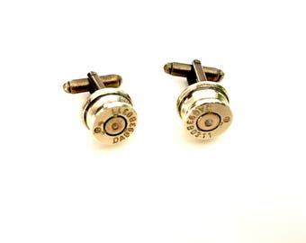 Genuine bullet cufflinks brass cuff links  recycled guns shooting steampunk hunting wedding bestman groomsmen Father's Day