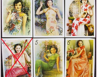 "Postcard style retro vintage Asian women pinup ""model 1"" x 1"
