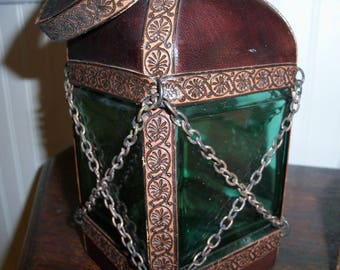 Vintage Leather Decanter Italy Lantern Chain Bottle Hand Blown Green Glass Display Barware