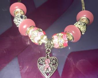 Breast Cancer Pink Ribbon Bracelet