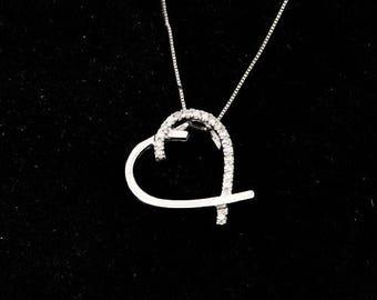 Gold & diamonds Heart Pendant, Diamond Pendant 0.11 Carats, Woman, 14k white Gold Pendant, love, gift for her, Valentine's Day gift
