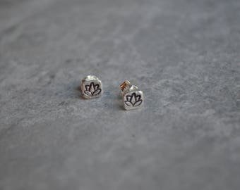 lotus sterling silver stud earrings