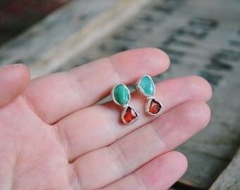 Chrysoprase and Carnelian Stud Earrings