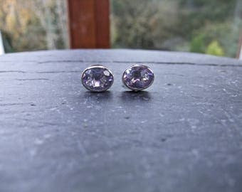 Alexandrite Sterling Silver Stud Earrings