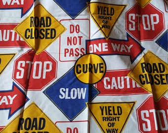 1.5yds Vintage Fabric Road Signs Primary Colors