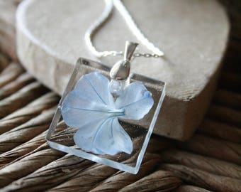 Handmade Blue Plumbago Clear Square Resin Pendant Necklace