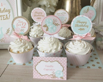 """Tea for Two 2 Birthday Party Cupcake Toppers Printable: 2"""" Party Circles Decoration - Shabby Chic Floral Pink Gold - Happy Birthday Decor"""