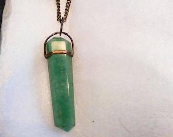 Vintage Green Adventurine Pendant Necklace