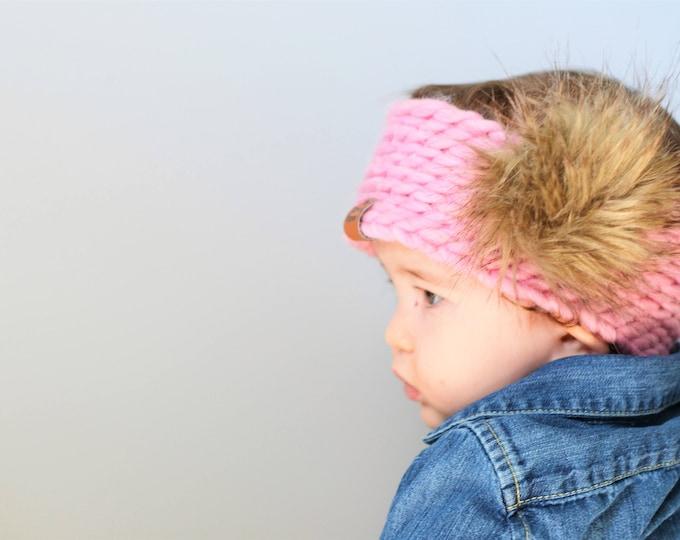 Pink Koala Headband | Knitted Baby Headband | Pink Baby Headband | Double Pom Pom Headband