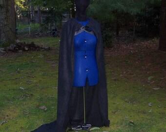 Game of Thrones Cape - Fleece -  Winterfell Cloak - Jon Snow - Knight's Watch - Stark - Black Cape - Medieval Costume - Viking - SCA