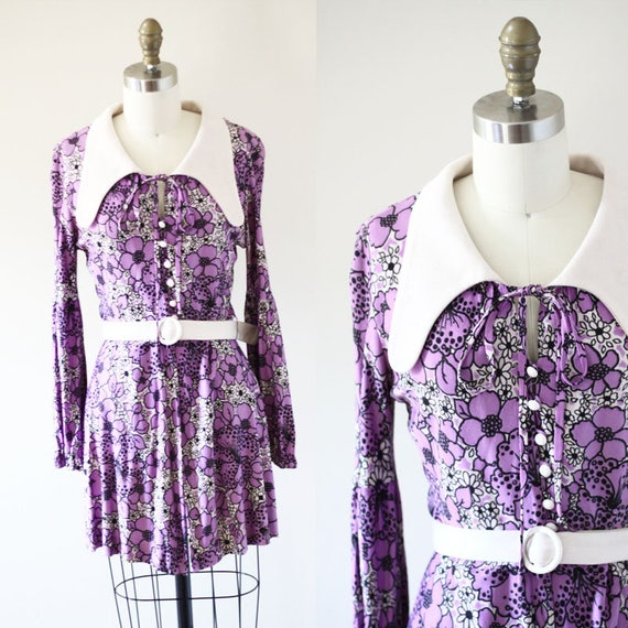 1960s purple playsuit // 1960s purple hot pants // vintage dress set
