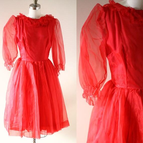 1960s red nylon dress // 1960s ruffle dress // vintage dress