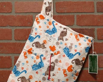 Medium Knitting Bag, Crochet, Knit, Yarn, Wool, Cats, Yarn Storage, Yarn Bag with Hole, Grommet, Handle, MYB11
