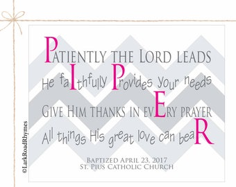 Baby Christening Gifts Christian Gifts Goddaughter Baptism Gift Baptism Decorations Baby Dedication Gift Personalized Poem 8x10 Piper