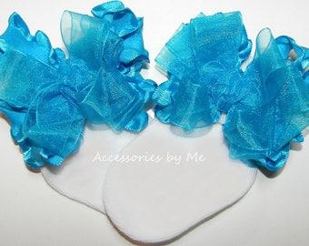 Baby Ruffle Socks, Turquoise Frilly Socks, Blue Organza Ruffle Bow Socks, Baby Girls Toddler Socks, Spring Easter 1st Birthday Pageant Socks