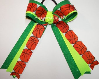 Basketball Hair Bow, Green Basketball Clip, Sparkly Basketball Neon Lime Green Ponytail Holder, Cheap Basket Ball Team Bows, Bulk Cheap Bows