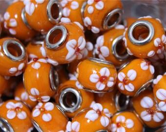 2 way lampwork Murano glass pandora beads