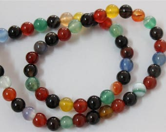 60 pearls 6mm multicolor agate