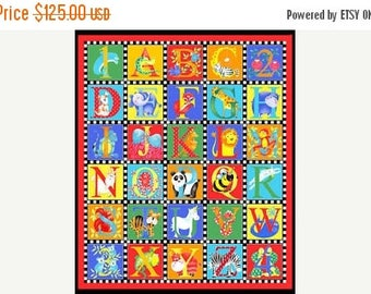 Sale Crib Bedding, Gender Neutral, Crib or Toddler, Baby Gift, Alphabet Soup By Henry Glass - ABC's, Numbers, Animals, New Baby Gift, Play M