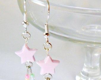 ON SALE Fairy Kei Shooting Star Earrings, Candy Pastels, Cute & Kawaii :)
