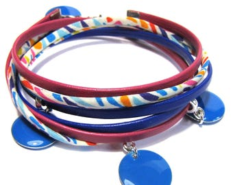 Bracelet multi-links liberty Ribbon and leather charms emailes - multitcolore, blue, pink