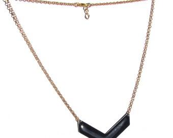 Blue enameled chevron Necklace dark gold chain