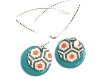 sequins paper hexagons, sequin green enamel earrings