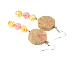 Beaded earrings - Wine cork jewelry - Statement earrings - Gift for wine lover - Recycled jewelry - Upcycled jewelry - Gift for her