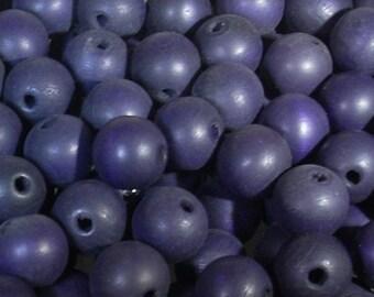 Set of 10 beads 13mm purple round plastic