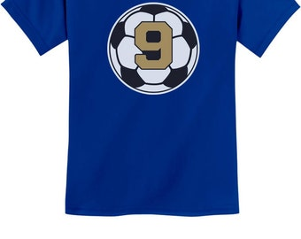 9 Year old Ninth Birthday Gift  Soccer Youth Kids T-Shirt