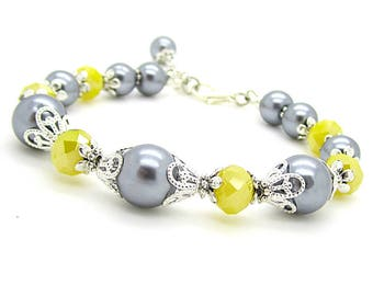 Grey and Yellow Bridesmaid Bracelet, Bridesmaid Sets, Yellow and Grey Wedding, Pearl Bridal Jewellery, Bridal Party Gifts Sunflower Yellow