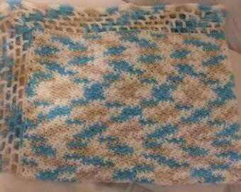 BABY BLANKET HANDMADE/Crocheted Baby Blanket/Blue White And Beige Blanket