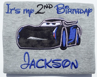 CARS STORM-Personalized Embroidered Birthday T-shirt-Any Character