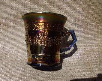 Antique Fenton Carnival Glass Blue Orange Tree Mug