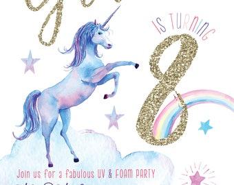 Magical Unicorn birthday party gold glitter invitation digital Printable birthday
