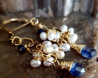 SageAine : Blue Kyanite with Sapphire and Pearls Gold Earrings,  Auric Shield, Reiki Charged, Crystal Healing, Gift for her