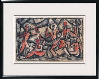 1922 Russian Cubist Painting - Antique Cubism Drawing - Signed PL 1922 - Original Soviet Art - Avant Garde Movement - 20th Century