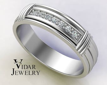 Men's 14K Gold And Diamond Wedding Band, Unique Wedding Band, Mens Wedding Band, Wedding Ring, Diamond Wedding Band, Comfort Fit Ring, Ring