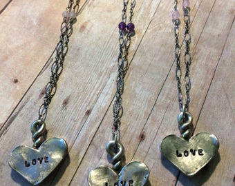 Love Heart Necklace, Pewter, Sterling Silver, limited edition