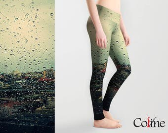 Printed  Leggings with Rain Photography , Active Wear, Women's Leggings, Yoga Leggings, Workout Leggings,  Yoga Sports pants