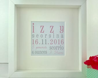 Personalised new baby keepsake frame | baby girl birth gift