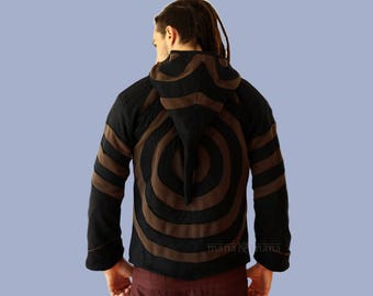 Men's Pixie Jacket - Goa Style Men's hoodie - Slashes Jacket- Psy Trance - Burning man