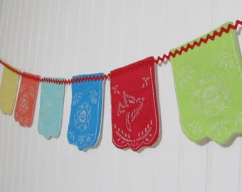 Mexican Papercut Flag Bunting - Embroidery and Sewing Pattern - Papel Picado